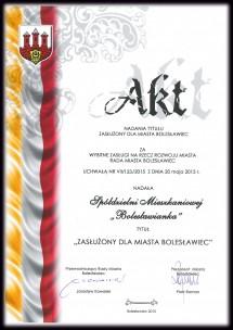 Dyplom Zas�u�ony dla Miasta Boles�awiec